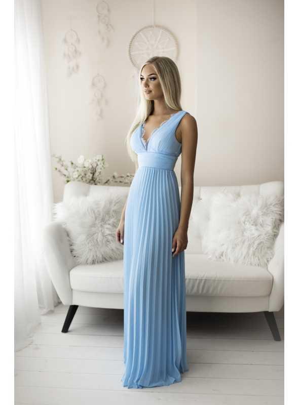 Natalie - maxi šaty s čipkou a plisovaním modré - S