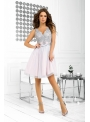 Bella via - mini šaty s čipkou a padavou sukňou, levanduľové - XS