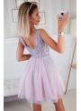 Bella via - mini šaty s čipkou a padavou sukňou, levanduľové