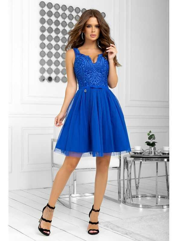 Bella via - mini šaty s čipkou a padavou sukňou, modré - XS
