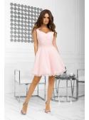 QUEEN - mini šaty s čipkou a padavou sukňou, ružové