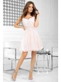 QUEEN - mini šaty s krajkou a padavou sukní, broskvové