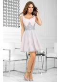 QUEEN - mini šaty s čipkou a padavou sukňou, ružovo šedé