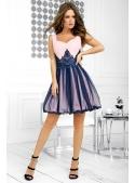 QUEEN - mini šaty s krajkou a padavou sukní, růžovo tmavomodré