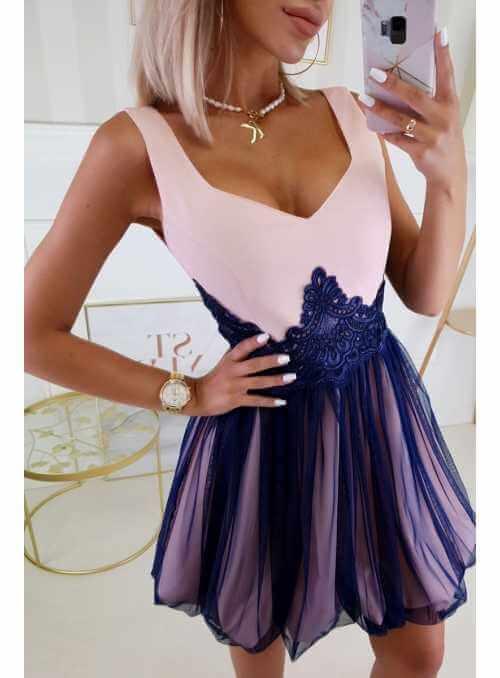 QUEEN - mini šaty s čipkou a padavou sukňou, ružovo tmavomodré