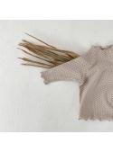 Béžový detský top s bodkami, 6-12 mesiacov