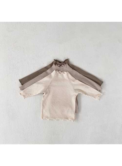 Krémovo biely detský top s bodkami, 6-12 mesiacov