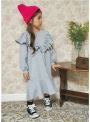 Šedé detské šaty s volánom
