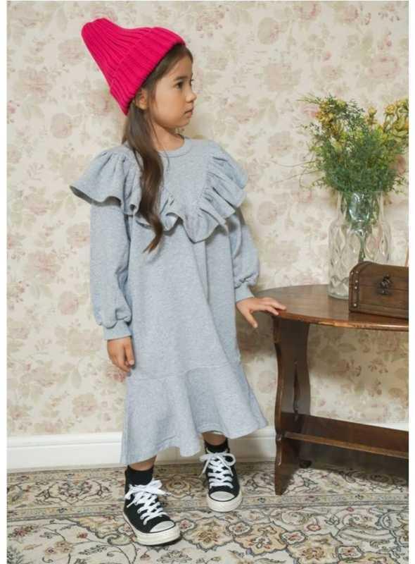 Šedé detské šaty s volánom, 5-6 rokov