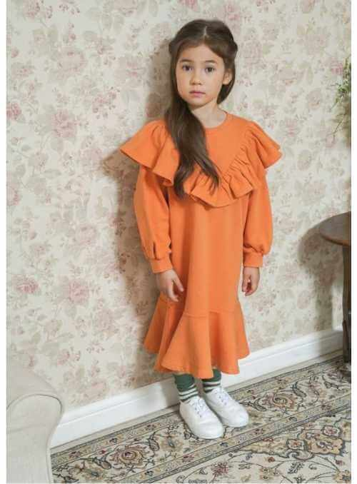 Pomarančové detské šaty s volánom