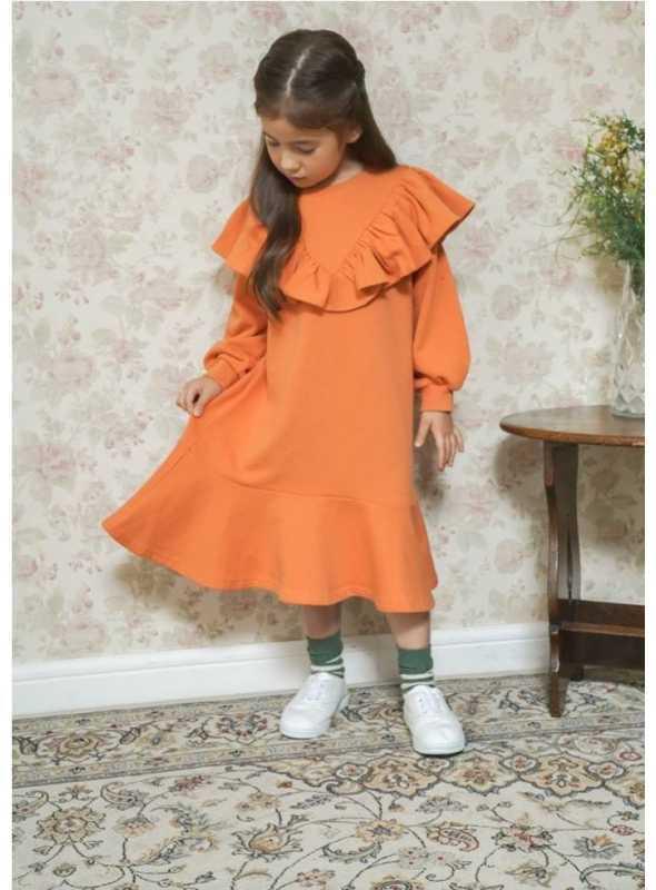 Pomarančové detské šaty s volánom, 5-6 rokov