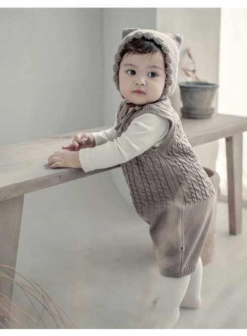 Detské pletené body, hnedé