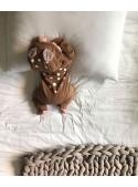Bambi - detské body s kapucňou, hnedé