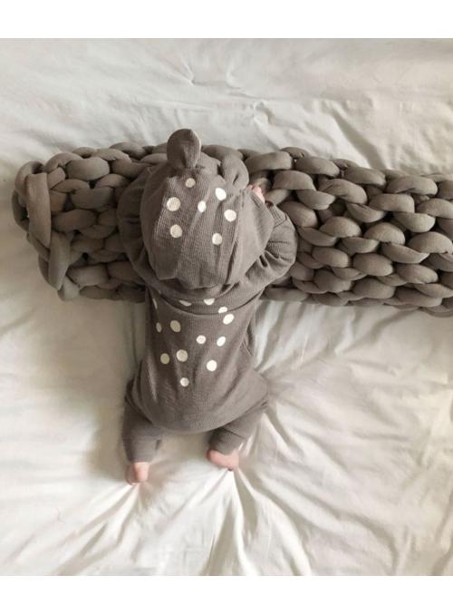 Bambi - detské body s kapucňou, šedé