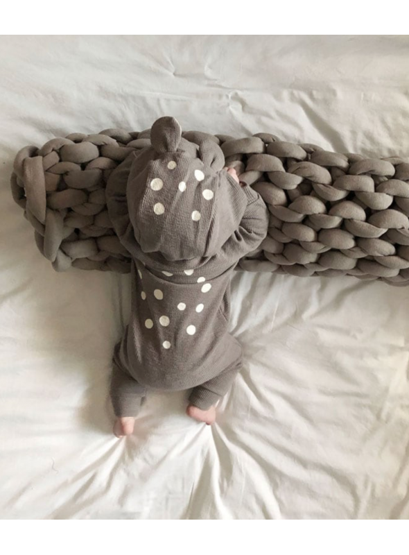 Bambi - detské body s kapucňou, šedé - 0-6 mesiacov