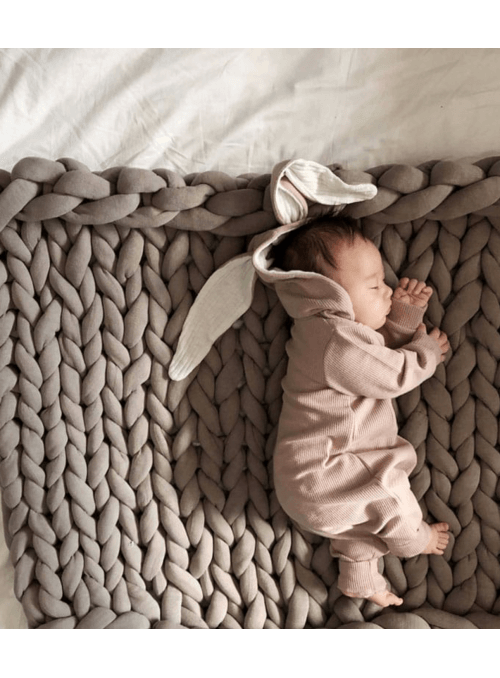 Ružové detské body s uškami ZAJKO - 6-12 mesiacov