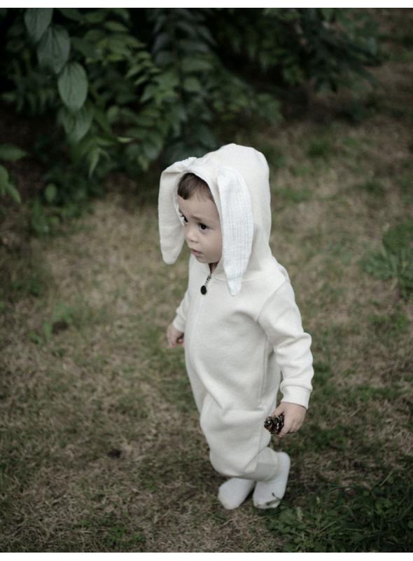 Béžové detské body s uškami ZAJKO