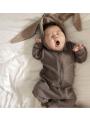 Šedé detské body s uškami ZAJKO - 0-6 mesiacov