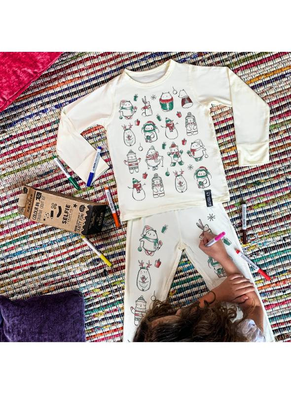 Vianočné pyžamko na vyfarbovanie