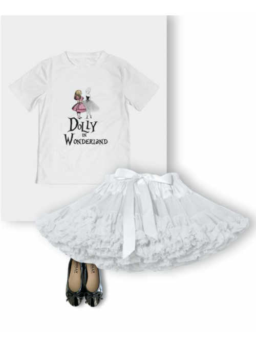 kid DOLLY T-shirt DOLLY in wonderland, white