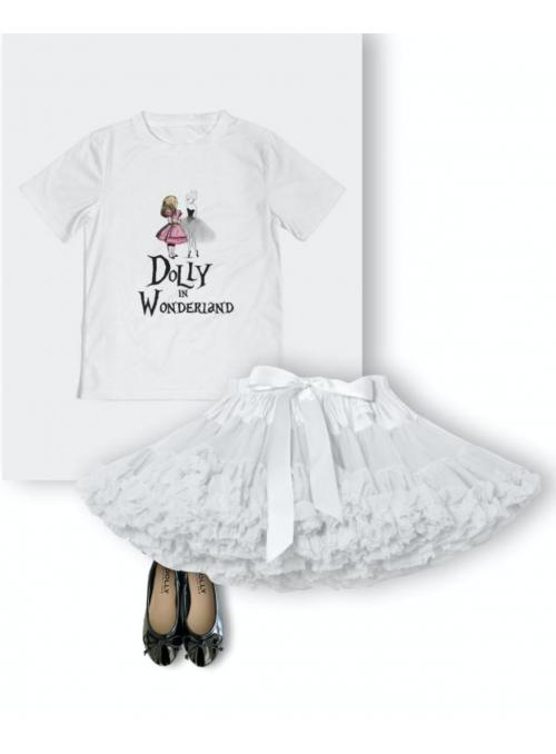detské DOLLY tričko DOLLY v krajine zázrakov, biele - 4-5 rokov