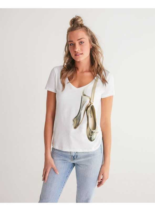 woman V-neck dolly tee, Dolly Gold Ballerinas, white