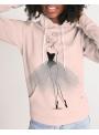 dámska DOLLY doodling mikina s kapucňou, pudrovoružová - XS