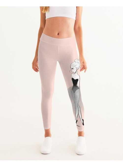 woman Dolly Doodling yoga pants, ballet blush