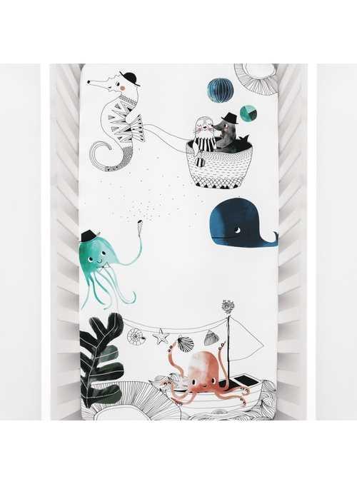 Plachta na detskú postieľku 60x120 cm- Podmorská láska