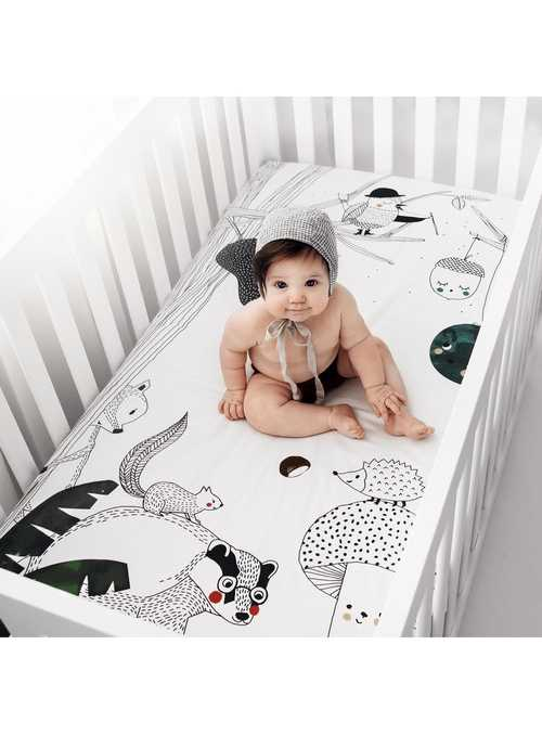 70x140cm Cot Fitted Sheet Woodland Dreams
