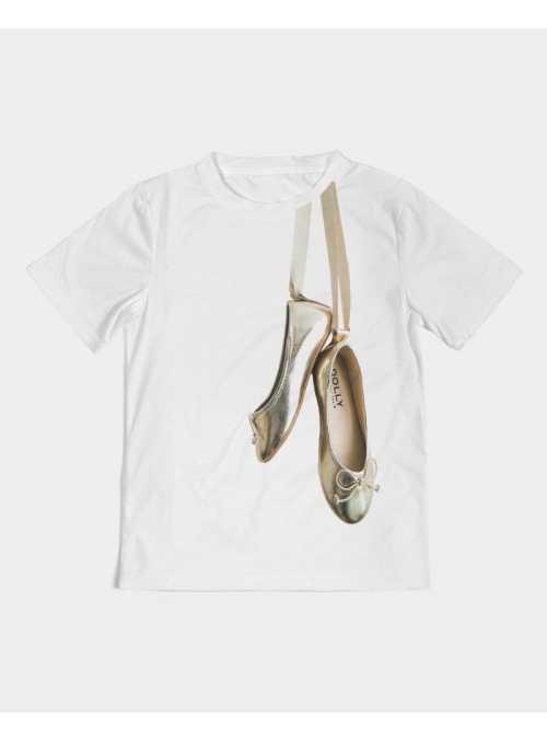 kid DOLLY T-shirt gold ballerinas