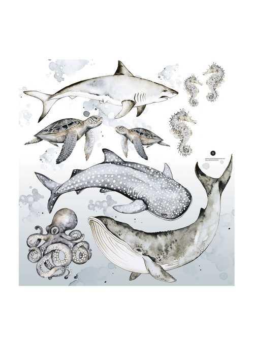Šťastný morský svet - nálepky na stenu
