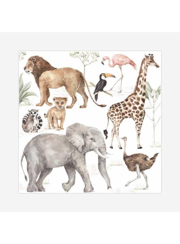 Zvieratká zo savany - veľkosť S - nálepky na stenu