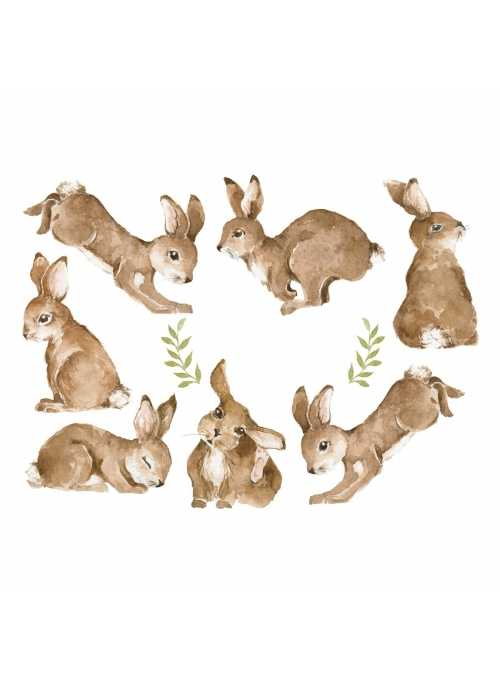 Happy bunny world - wall stickers 95x70cm