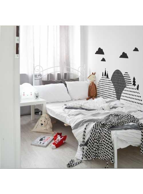 Severské hory - nálepky na stenu za posteľ 155 cm x 50 cm