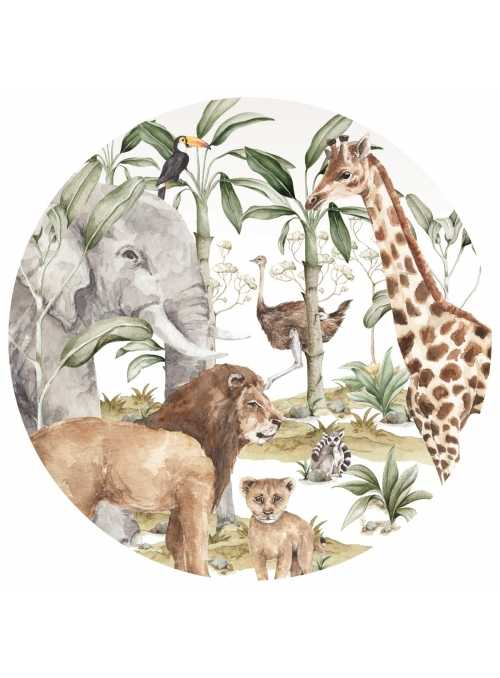 Savana animals, circle wall stickers