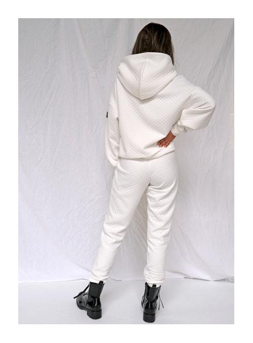 Luxusné dámske tepláky, biele prešívané, L
