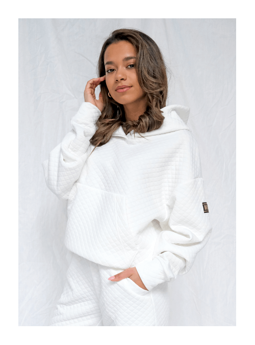 Luxusná dámska mikina s kapucňou, biela prešívaná