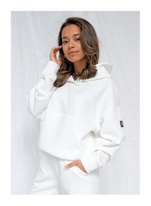 Luxusná dámska mikina s kapucňou, biela prešívaná, XS