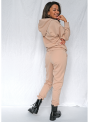 Luxusná dámska mikina s kapucňou, capuccino prešívaná, XS