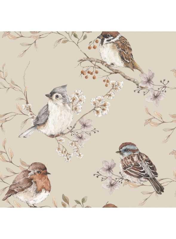 Vtáčiky, béžové - tapeta na stenu