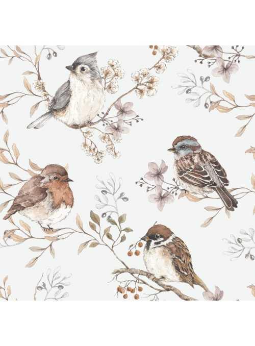 Vtáčiky, šedé - tapeta na stenu