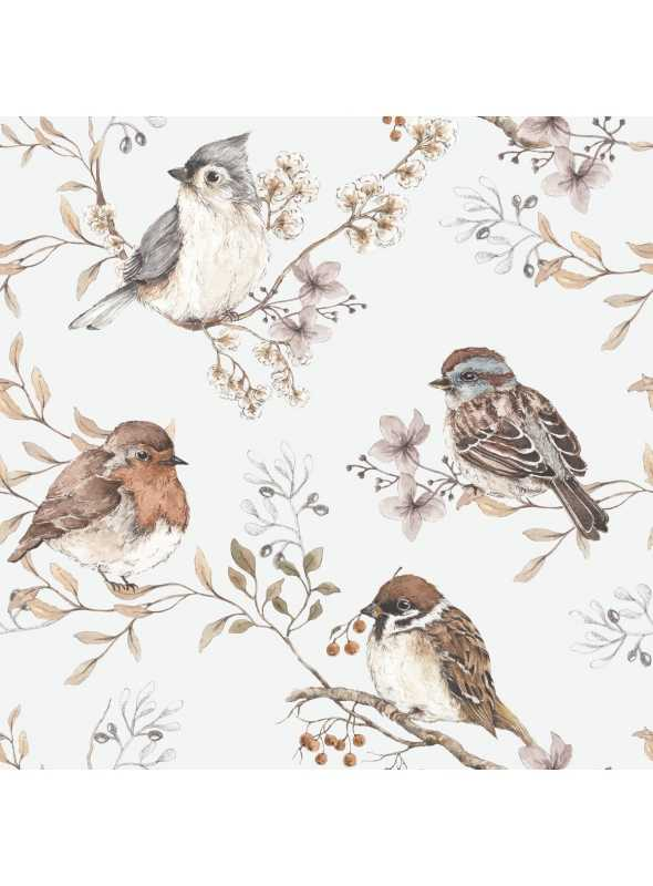 The birds' wallpaper - grey