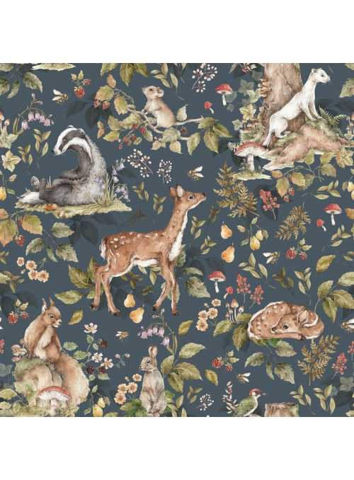 V nočnom lese so zvieratkami - tapeta na stenu