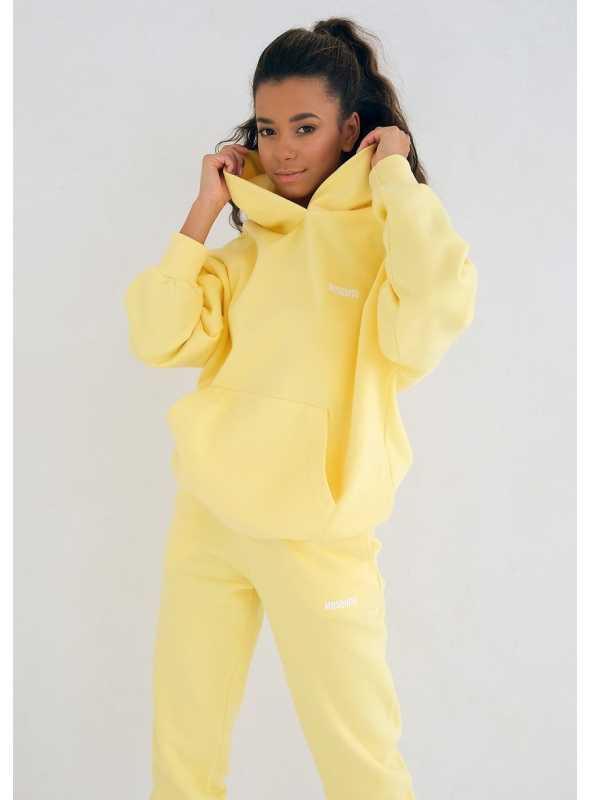 Dámska mikina s kapucňou slniečkovo žltá, XS