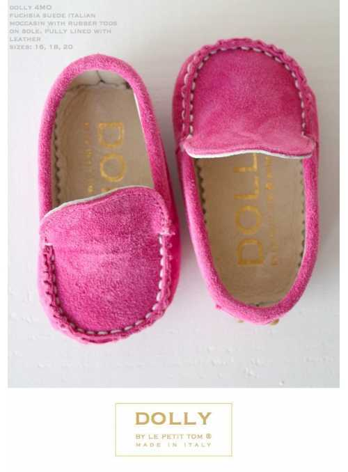 Baby 4MO moccasin fuchsia suede + rubber tods