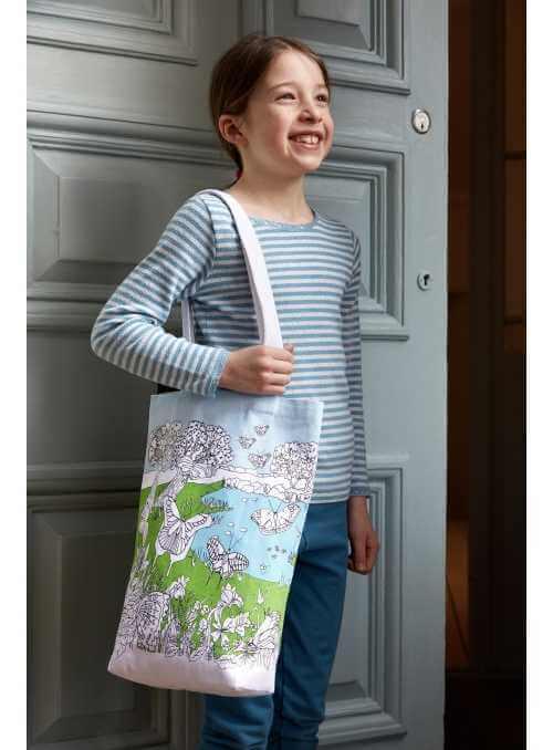 Motýlia záhrada - veľká taška na plece - vyfarbuj a uč sa