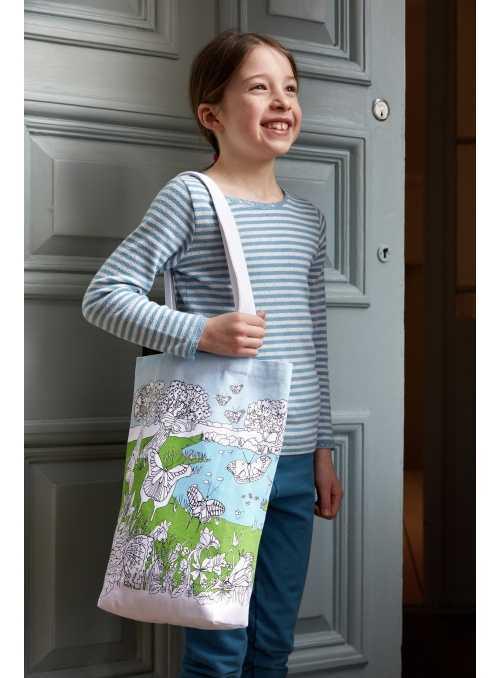 Motýlí zahrada - velká taška na rameno – vybarvuj a uč se