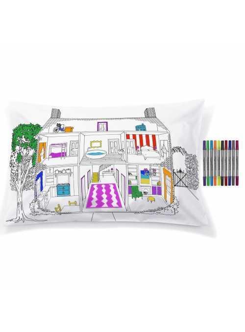 Domeček pro panenky – interaktivní povlak na polštář 75x50cm, vybarvuj a uč se