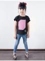 Detské zábavné iluminačné tričko, ružové + laser pero, 3-4 roky